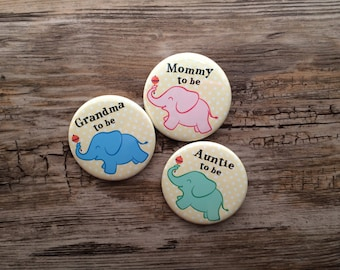 2.25 Inch Elephant Theme, Baby Shower Button, Mom To Be Pin, Auntie Badge