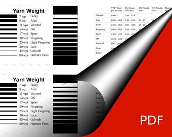 Print your Knitter's Yarn  information Card - WPI sizing tool - Black & White