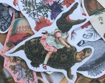 Alligator Ride #1 surreal collage art handmade paper sticker