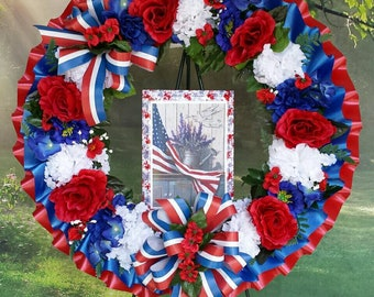 Patriotic Cemetery Wreath, Red, White, Blue, Flag, Cemetery Flowers, Gravesite, Memorial Day, Americana, Funeral Wreath, 4th of July, Fourth