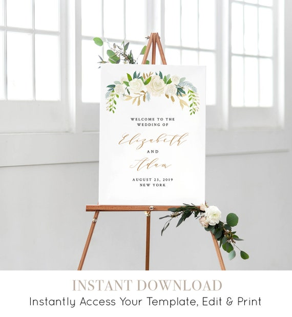 Wedding Welcome Sign, Printable Welcome Poster Template, INSTANT DOWNLOAD, 100% Editable, Floral, Greenery, Gold, Boho, Neutral #021-115LS