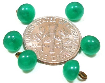 """Itty Bitty BUTTONS, 6 Tiny green glass. Doll size, 1/4""""."""