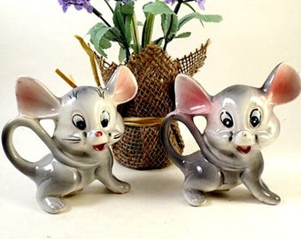 Vintage Japan MICE Mouse Salt and Pepper Shakers  Retro Ceramic Figural