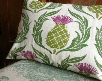 Scottish Thistle hand block printed white linen decorative home decor pillow cover