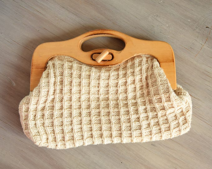 Featured listing image: Knit Handbag - neutral vintage clutch - wooden handle bag - Spring clutch - summer clutch - casual everyday bag