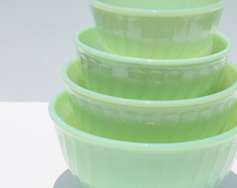 Fire King Jadeite Swirl Mixing Bowls, Set of Four Nesting Bowls