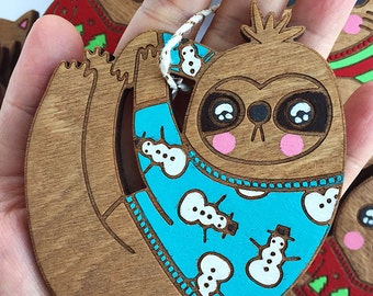Sloth Ornament - Stocking Stuffer Sloth Christmas Decoration Funny Christmas Ornament Wooden Ornament Hand painted Cute Christmas Ornament