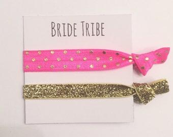 Bridesmaid hair tie favors//elastic hair tie favor, party favors, bridesmaid gift, bachelorette gift, hair tie card