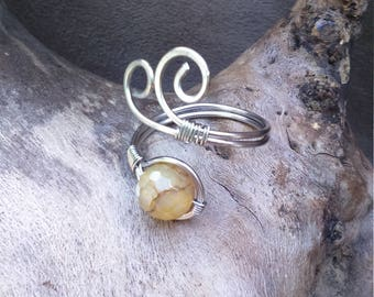 Ring adjustable Celtic, elven stainless steel and dyed agate