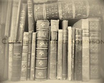 Books Bookshelf. Original Digital Photograph Art Print. Black and White. Antique. Wall Art. Wall Decor. BOUND to the PAST by Mikel Robinson