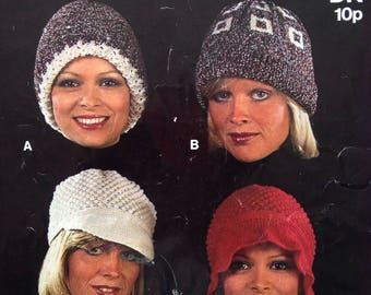 Vintage 1970s Sirdar Knitting Pattern (no. 5668) for Four Different Ladies Hats. Cap, Bonnet, Woolly Hat.
