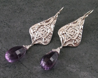 Lavender amethyst earrings, handmade eco friendly fine silver Victorian earrings-OOAK