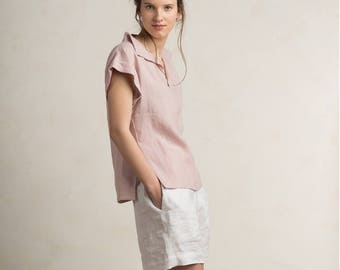 Dusty rose linen blouse, Linen women's clothing, Short sleeve linen shirt, Linen womens tops, Varm neutral light pink linen clothes by LHI