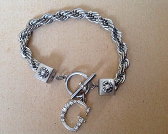 Guess Clear Rhinestone Thick Twist Chain Toggle Clasp Silver bracelet
