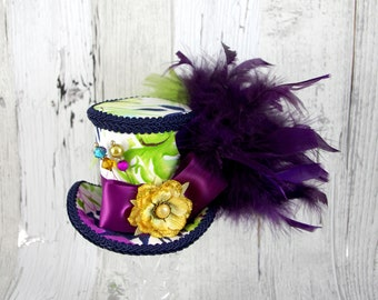 Purple, Blue, Green, Yellow, and White Hawaiian Print Medium Mini Top Hat Fascinator, Alice in Wonderland, Mad Hatter Tea Party, Derby Hat
