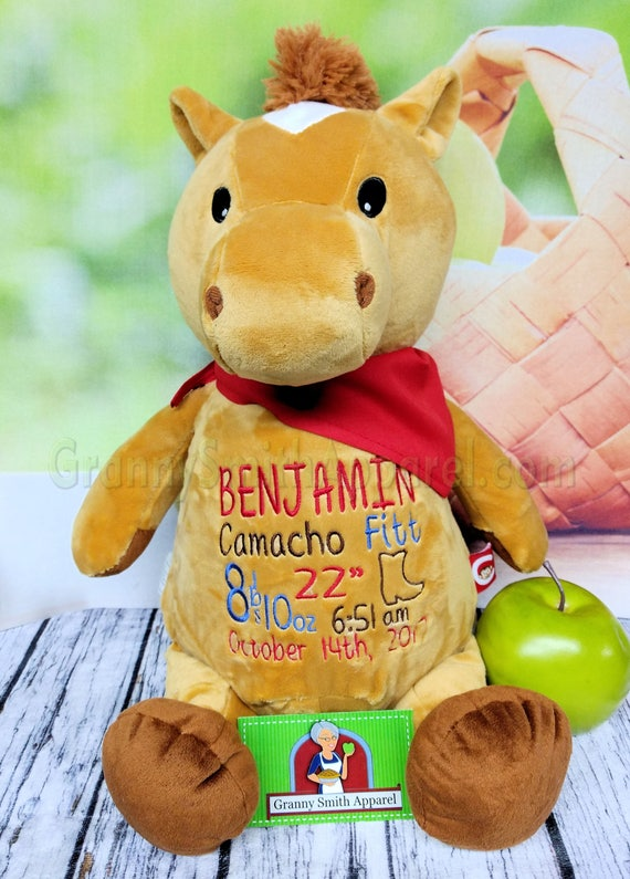 "Caramel Horse 12"" custom embroidered plush stuffie animal.  Birth block, initials, name, subway art, design the front and back too!"