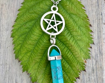 Silver Pentacle and Pointed Turquoise Stone Necklace