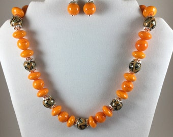 Sunny golden yellow ceramic and lampwork beaded necklace set