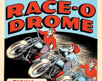 """Vintage Style Circus Freakshow poster 16x20 carnival art print banner  """"Race-O-Drome"""" Motorcycle Stunt Racing"""""""