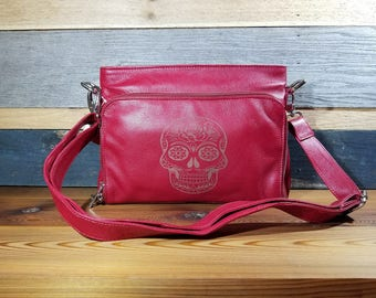 Genuine Leather Conceal Carry Purse with Custom Laser Engraved Image!