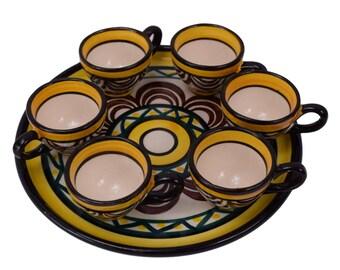 French Vintage Saint Jean De Bretagne Pottery Liquor Set - Six Liquor Goblets and Serving Tray - Quimper Brittany Pottery