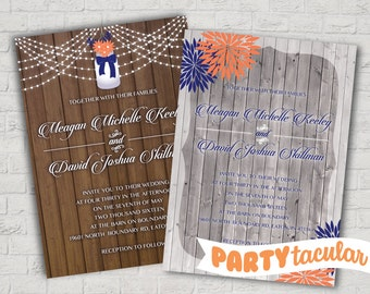 Coral & Navy Wood Vintage Wedding Invite, Includes RSVP Postcard
