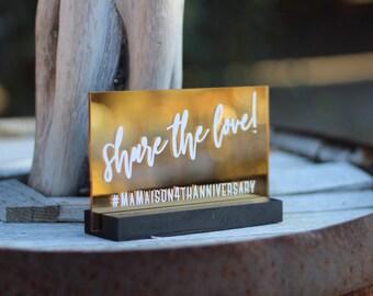 Custom Hashtag Sign / Mirrored Gold Acrylic / plexiglass / gold / wedding / event