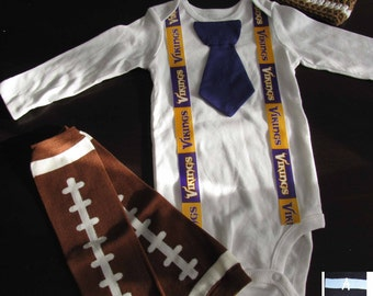 MINNESOTA VIKINGS inspired football outfit for baby boy - tie bodysuit with suspenders, crochet hat, leg warmers