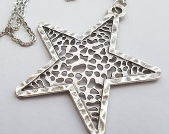 Big Silver Star Necklace, Large Star, Statement Necklace, Long Necklace, Antique Silver Hammered Star