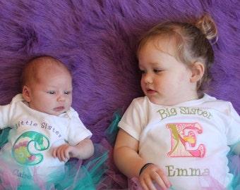 Big Sister Shirt - Big Sis Shirt- Big Brother Shirt - Little Sister/Brother Bodysuit Sibling Set - Initials