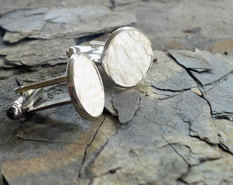 White salmon leather cufflinks, festive wedding cufflinks, elegant groom cufflinks, gift for him, Valentine, Father's Day