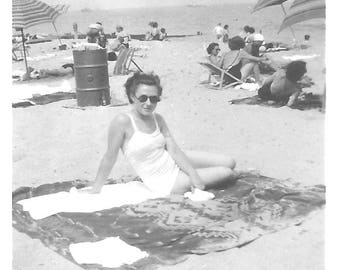 """Vintage Snapshot """"At The Beach"""" Pretty Girl Swimsuit Sunglasses  Beach Umbrellas One-Piece Bathing Suit Found Photo"""
