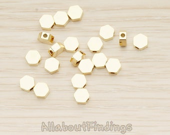 BDS062-G // Glossy Gold Plated Hexagon Charm, 4 Pc