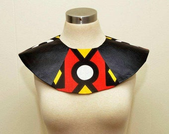 Unisex Nubian Collar vegan leather Ankara adjustable collar epaulette Black History Month, dance group, Cosplay Panther Wearable Art