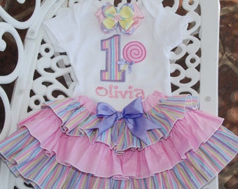 Custom Birthday Outfit! Pastel Lollipop Birthday Outfit! Rainbow Pastel Birthday Outfit/Baby Girl First Birthday Outfit/1st Birthday Outfit