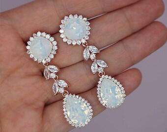 White Opal Earrings, Bridal Earrings Rose gold,  Chandelier Earrings, Rose Gold Earrings, Statement Earrings, Swarovski wedding jewelry