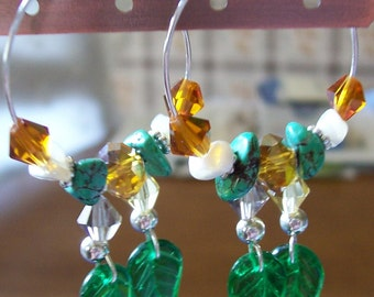 Pair of Harvest Turquoise/Pearl WINE CHARMS Set