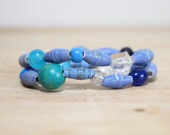 Bright Blue Recycled Paper Bead Bracelet Set, Summer Bracelet Set, Funky Bracelet Set, Eco Friendly Fashion