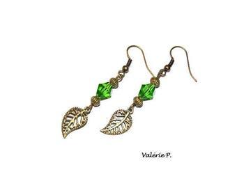 Earrings dangling fancy leaf autumn bronze VALERIE P