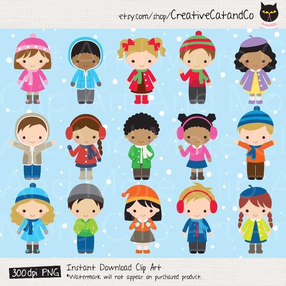Winter Kid Clipart Winter Children Clipart African American