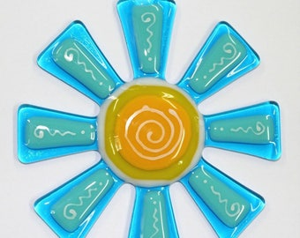 Glassworks Northwest - Brilliant Aqua and Turquoise Flower Suncatcher - Fused Glass Suncatcher