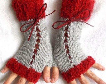 Handknit  Fingerless Corset Gloves Women Wrist  Warmers in Grey and Cranberry  Red