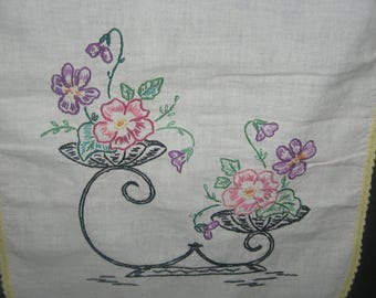 Embroidered table runner, floral design, vintage, embroidered and crocheted. Great vintage display, gift.