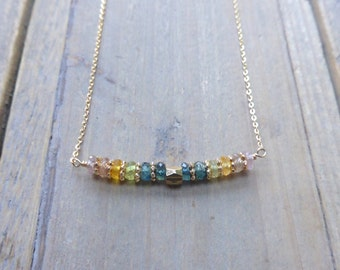 T H E S A P P H I R E C O L L E C T I O N - Mixed sapphire Bead Bar 14k Gold Filled Necklace