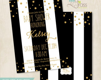 Custom Baby Shower, Bridal Shower, Wedding, Save the Date, Birthday Party Invitation by BluGrass Designs - Modern Stripes and Confetti