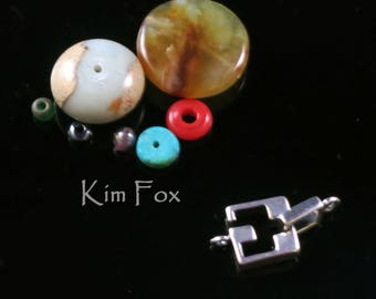 Square Slot Clasp for necklace or bracelet in silver by Kim Fox