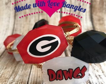Georgia Bulldogs Wire Wrapped Bangle Bracelet University of Georgia Gameday Bangle Bracelet