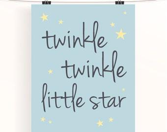 Twinkle twinkle little star, blue nursery print, unisex baby nursery wall art, star themed nursery poster, blue baby room decor, nursery art