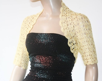 Yellow crochet shrug,  Wedding bolero shrug, Bolero jacket, Lace shrug, Bridal shoulders cover, Bridesmaids Cover up Bolero