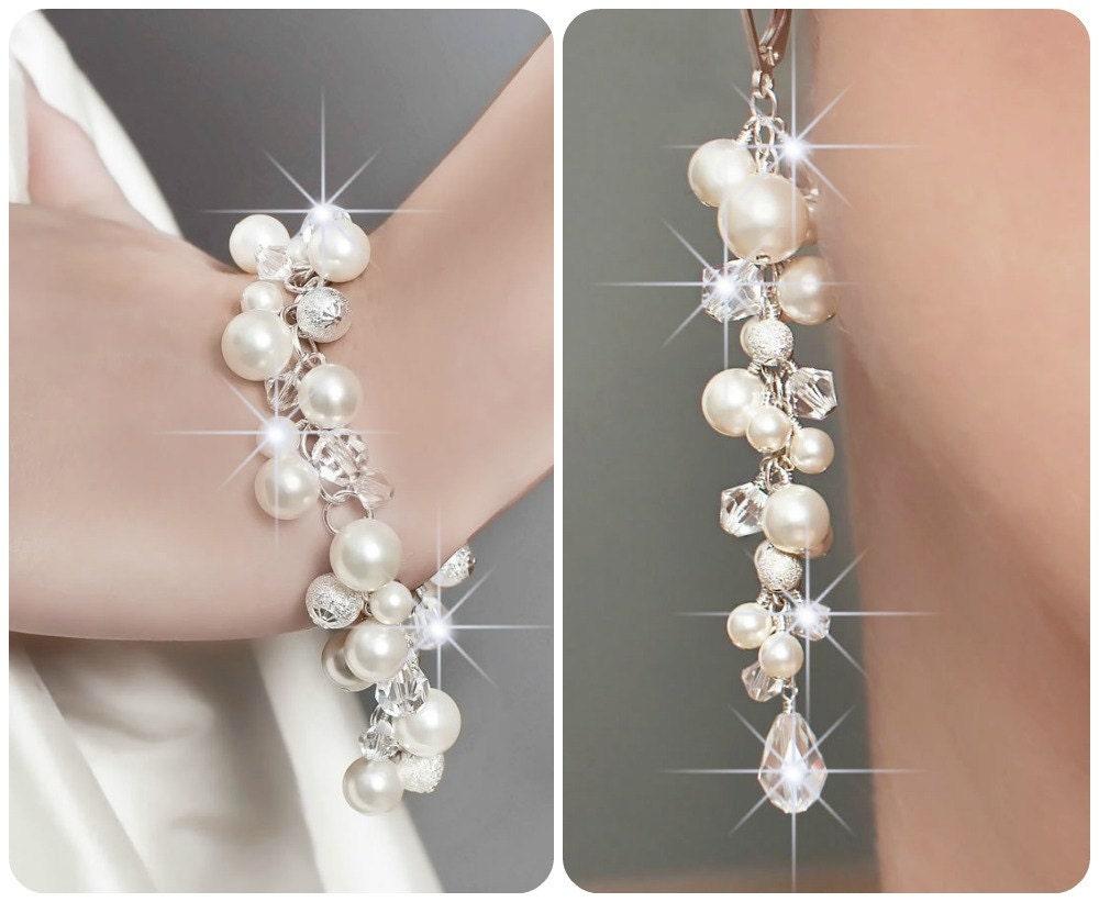 Wedding Jewelry SET Wedding Pearl Jewelry SET Swarovski